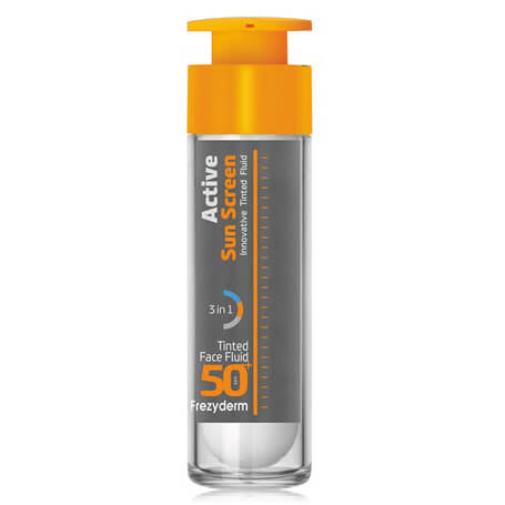 Frezyderm Active Sun Screen Tinted Face Fluid Spf50+ Ενεργή Έγχρωμη Αντηλιακή Κρέμα Προσώπου με Ελαφριά Κάλυψη 50ml