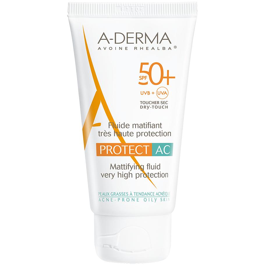 A-Derma Protect AC Fluide Matifiant Spf50+ Αντηλιακή Κρέμα Προσώπου Ματ Αποτέλεσμα για Λιπαρές & με Τάση Ακμής Επιδερμίδες 40ml