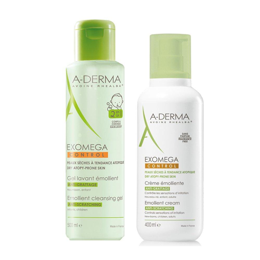 A-Derma Exomega Combo Gel Lavant Emollient 2 en 1 Ενυδατικό Ζελ Καθαρισμού 500ml & Emollient Cream Μαλακτική Κρέμα 400ml