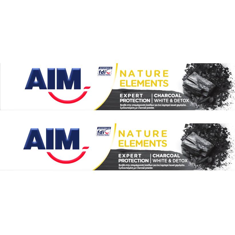 Aim Nature Elements Charcoal White & Detox Οδοντόκρεμα με Αποδεδειγμένη Σύνθεση για Ολοκληρωμένη Προστασία 2x75ml