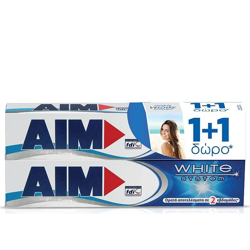 Aim Οδοντόκρεμα White System 2 x75ml Πακέτο 1+1
