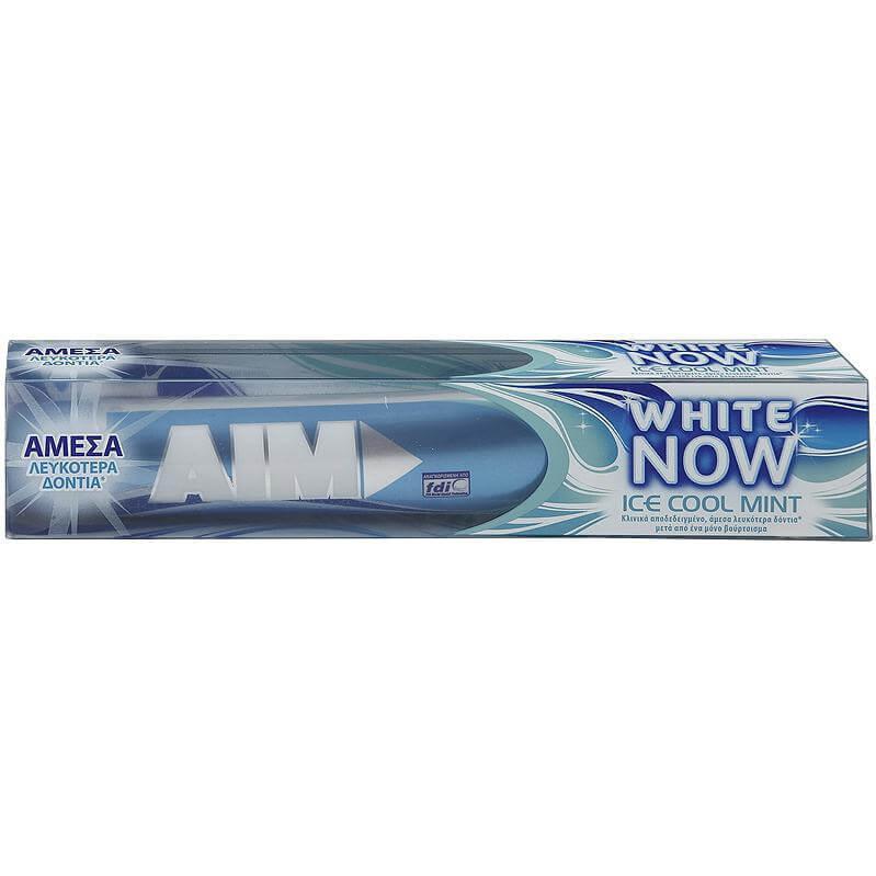 Aim White Now Ice Cool Mint Οδοντόκρεμα για Άμεσα Λευκότερα Δόντια, με Δροσερή Γεύση Μέντα 75ml
