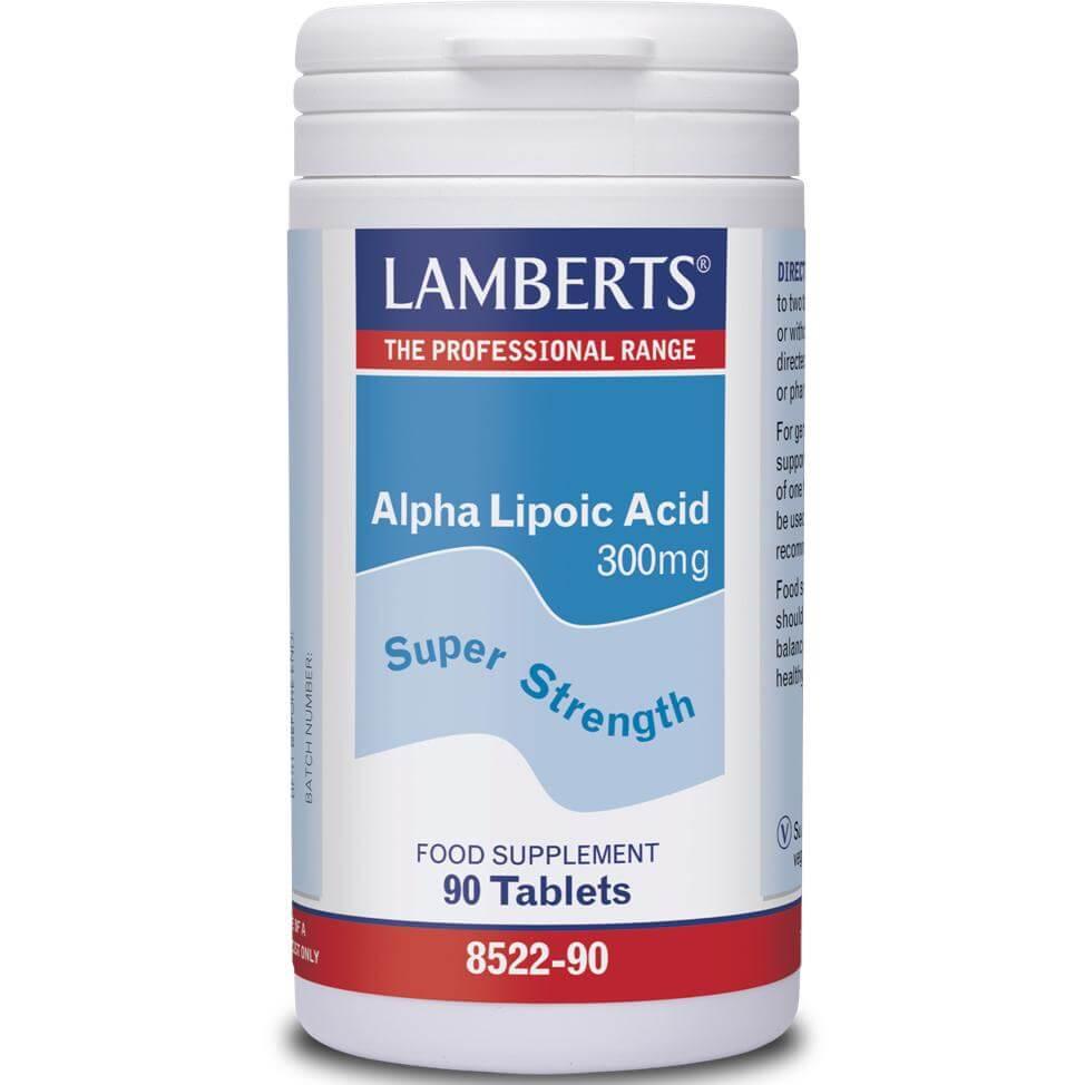 Lamberts Alpha Lipoic Acid Συμπλήρωμα ΔιατροφήςΑντιοξειδωτικήςΔράσης μεΡόλοστην Παραγωγή Ενέργειας 300mg 90tabs