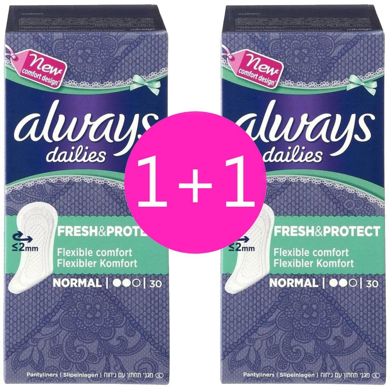 Always Πακέτο Προσφοράς Dailies Fresh & Protect Normal Σερβιετάκια με Άνετη Εφαρμογή Όλη Μέρα 2×30 Τεμάχια 1+1 Δώρο