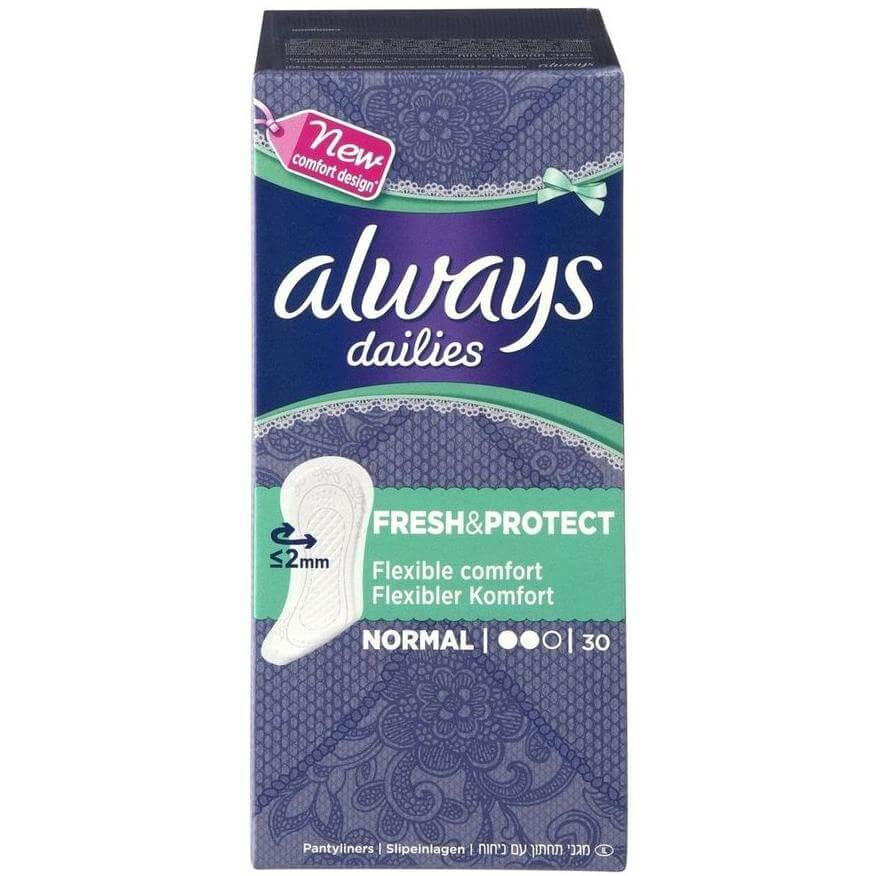 Always Dailies Fresh & Protect Normal Σερβιετάκια με Άνετη Εφαρμογή Όλη Μέρα 30 τεμάχια
