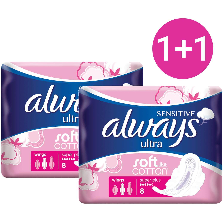 Always Πακέτο Προσφοράς Ultra Sensitive Super Plus Soft Like Cotton Έως 100% Προστασία από Διαρροές 8 τεμάχια 1+1 Δώρο