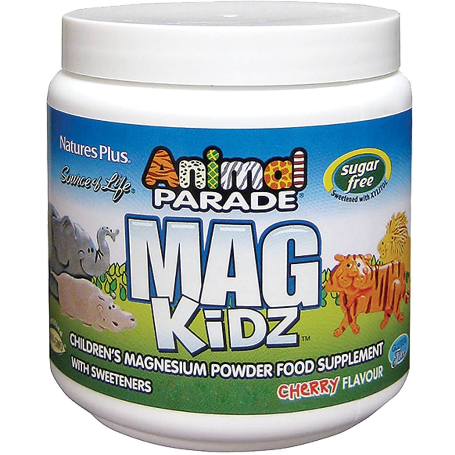 Natures Plus Animal Parade Mag Kidz Powder Συμπλήρωμα Διατροφής σε Σκόνημε Γεύση Κεράσι145gr