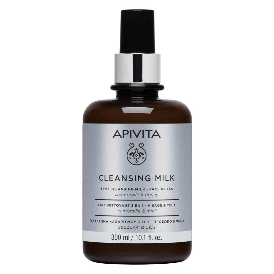 Apivita Cleansing Milk Limited Edition Γαλάκτωμα 3 σε 1 για Πρόσωπο & Μάτια με Χαμομήλι & Μέλι 300ml