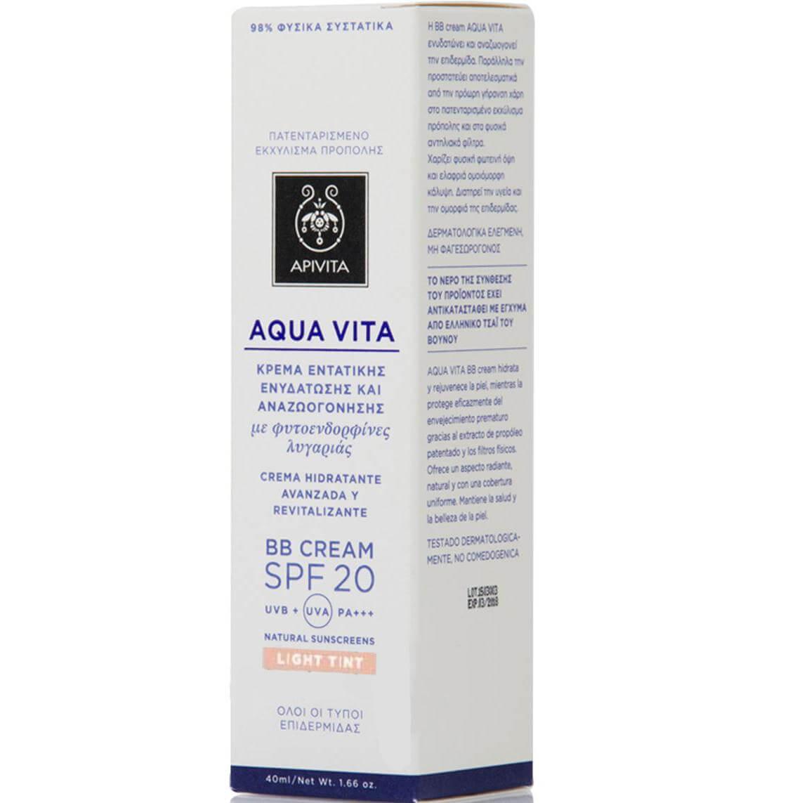 Apivita Aqua Vita BB Cream Light Ενυδατώνει και Αναζωογονεί την Επιδερμίδα Spf20 40ml