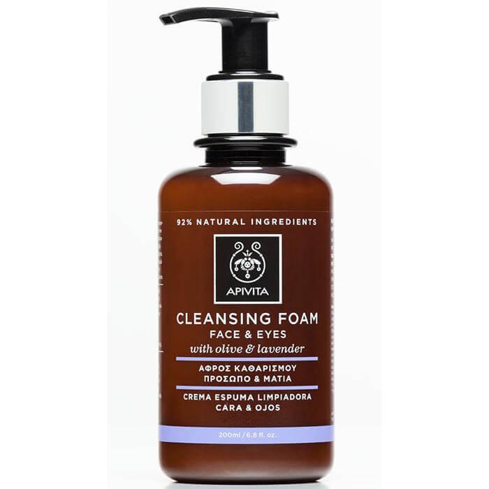 Apivita Cleansing Κρεμώδης Αφρός Καθαρισμού Για Πρόσωπο Και Μάτια Με Ελιά Και Λεβάντα 200ml & Δείγμα Aqua Vita 2ml
