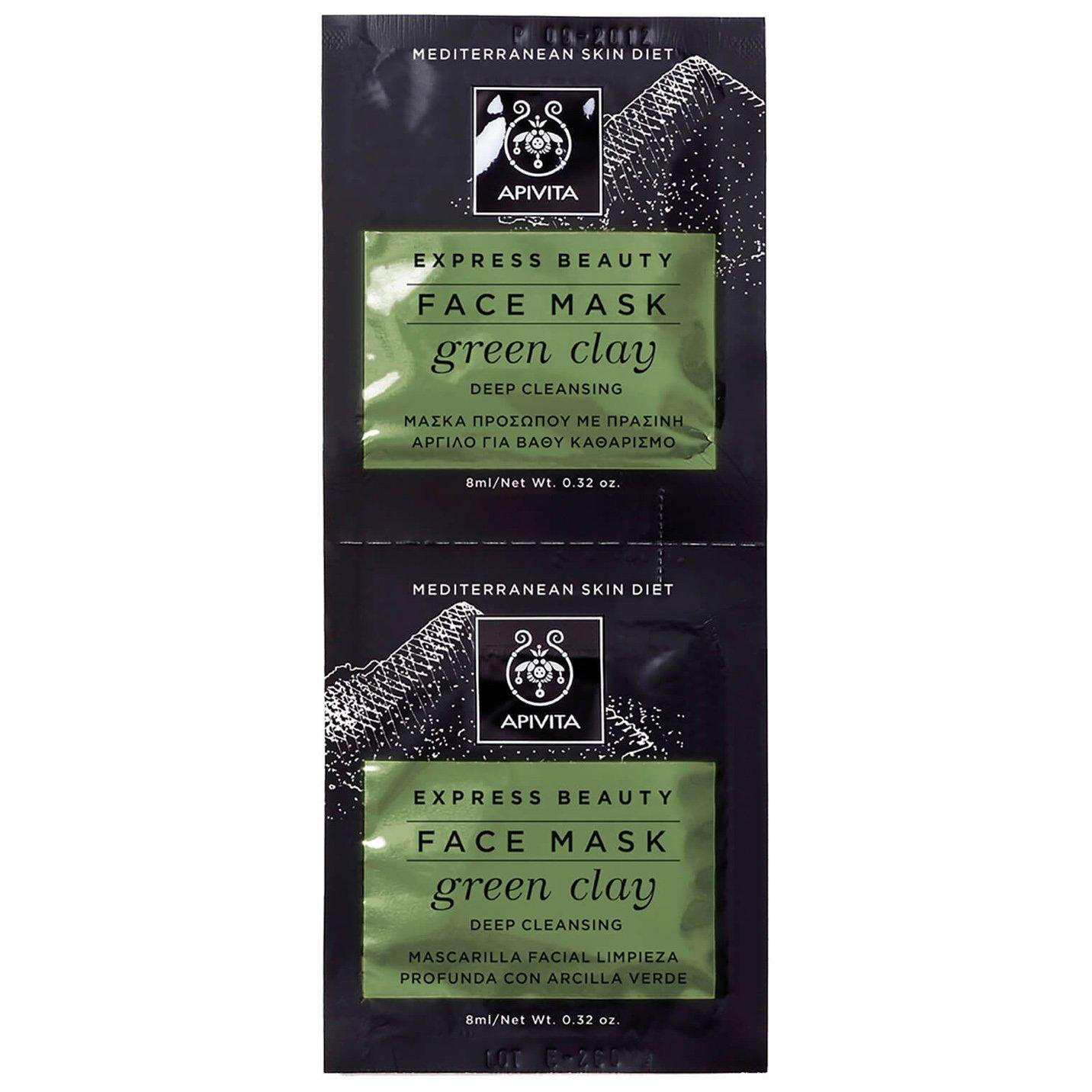 Express Beauty With Green Clay Μάσκα για Βαθύ Καθαρισμό με Πράσινη Άργιλο 2x8ml – Apivita,Ιδανική για Λιπαρές και Μεικτές Επιδερ