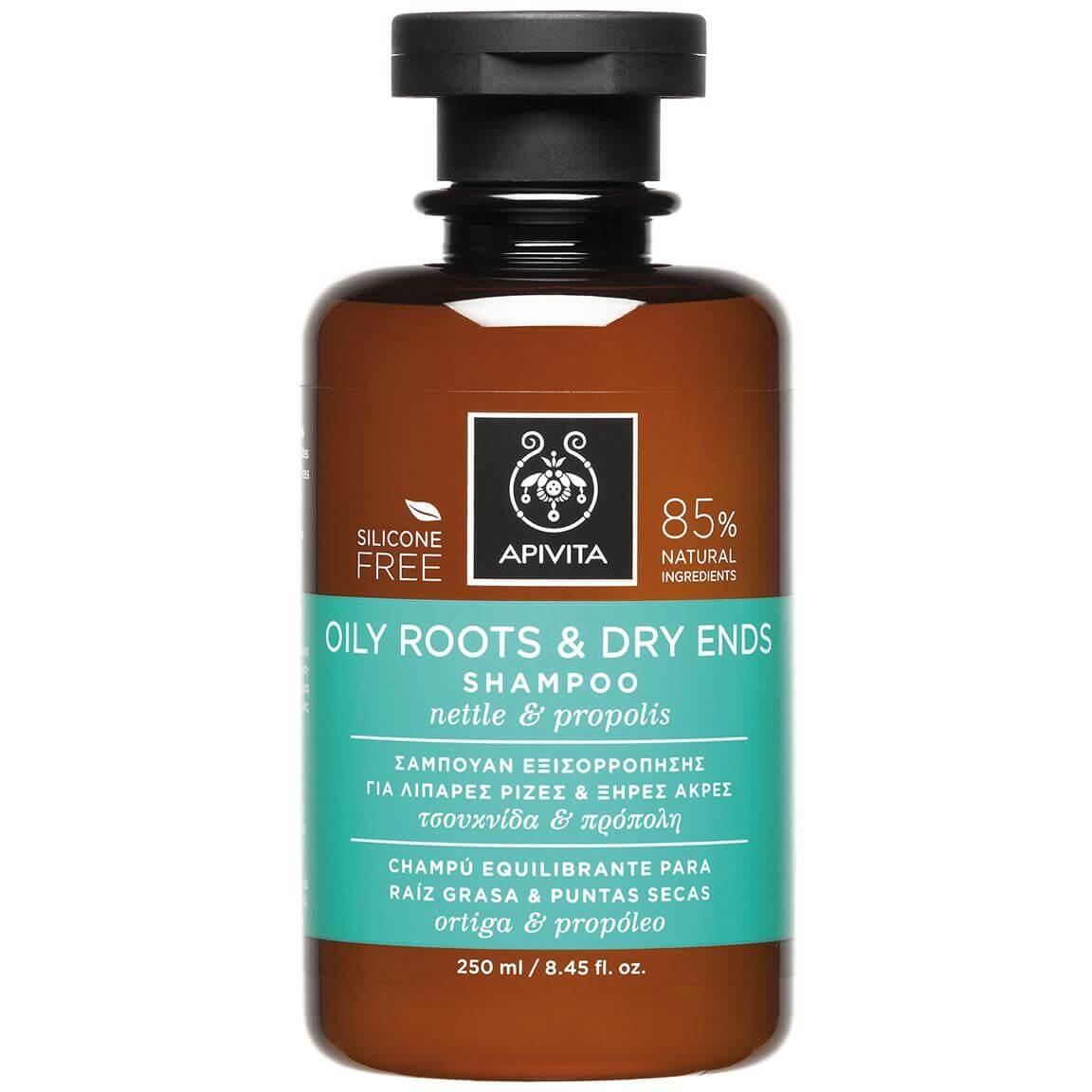 Apivita Oily Roots & Dry Ends Shampoo Σαμπουάν Εξισορρόπησης για Λιπαρές Ρίζες Ξηρές Άκρες με Τσουκνίδα & Πρόπολη 250ml