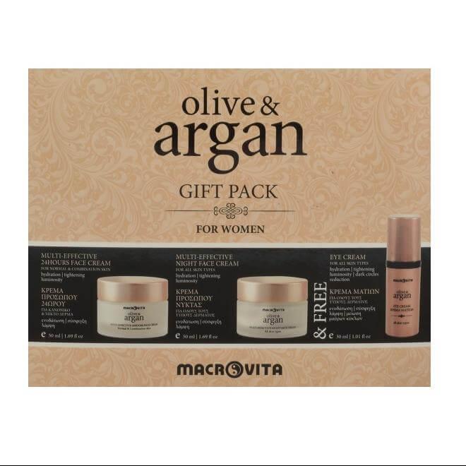Macrovita Olive & Argan Gift Pack For Women Κρέμα Προσώπου Κανονικό-Μικτό δέρμα 50ml, Κρέμα Νύχτας 50ml & Δώρο Κρέμα Ματιών 30ml