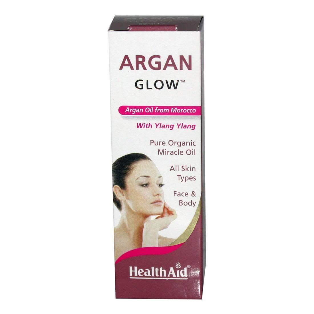 Health Aid Argan Glow Argan Oil Ylang Ylang Οργανικό Έλαιο Αργκάν Προσώπου Σώματος Όλοι οι Τύποι Δέρματος 60ml