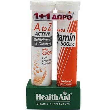 Health Aid Α to Ζ Πολυβιταμίνες με Τζίνσενγκ&Συνένζυμο Q10 20αναβράζ.ταμπλέτες + Δώρο Vitamin C Orange 500mg 20αναβρ.δισκία