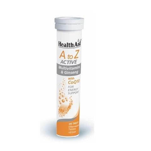 Health Aid Α to Ζ Αctive Πολυβιταμίνες με Τζίνσενγκ & Συνένζυμο Q10 20 Αναβράζουσες Ταμπλέτες
