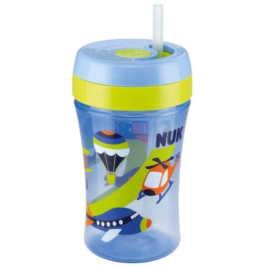 NukFun Cup Παγουράκι Πολυπροπυλενίουμε Μαλακό Καλαμάκι Σιλικόνης18+mBPA Free300ml – γαλάζιο
