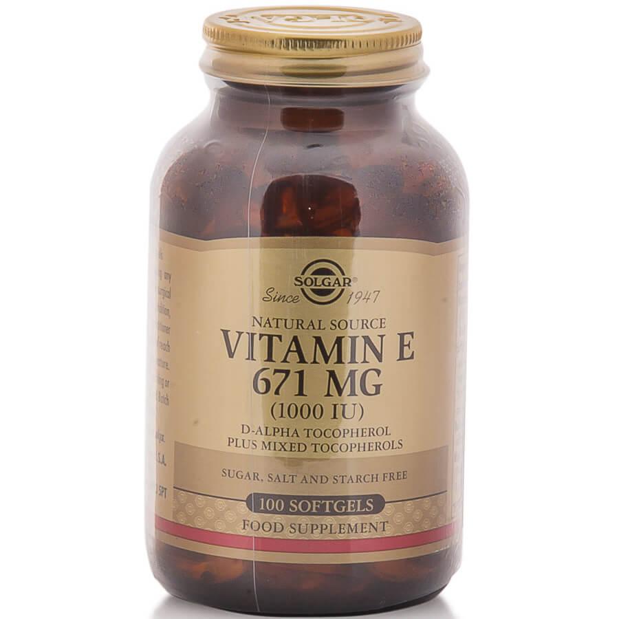 Solgar Vitamin E Συμπλήρωμα Διατροφής Φυσικής Πηγής Βιταμίνη Ε Πλούσια σε Αντιοξειδωτικά Natural softgels – 671mg 1000iu 100s
