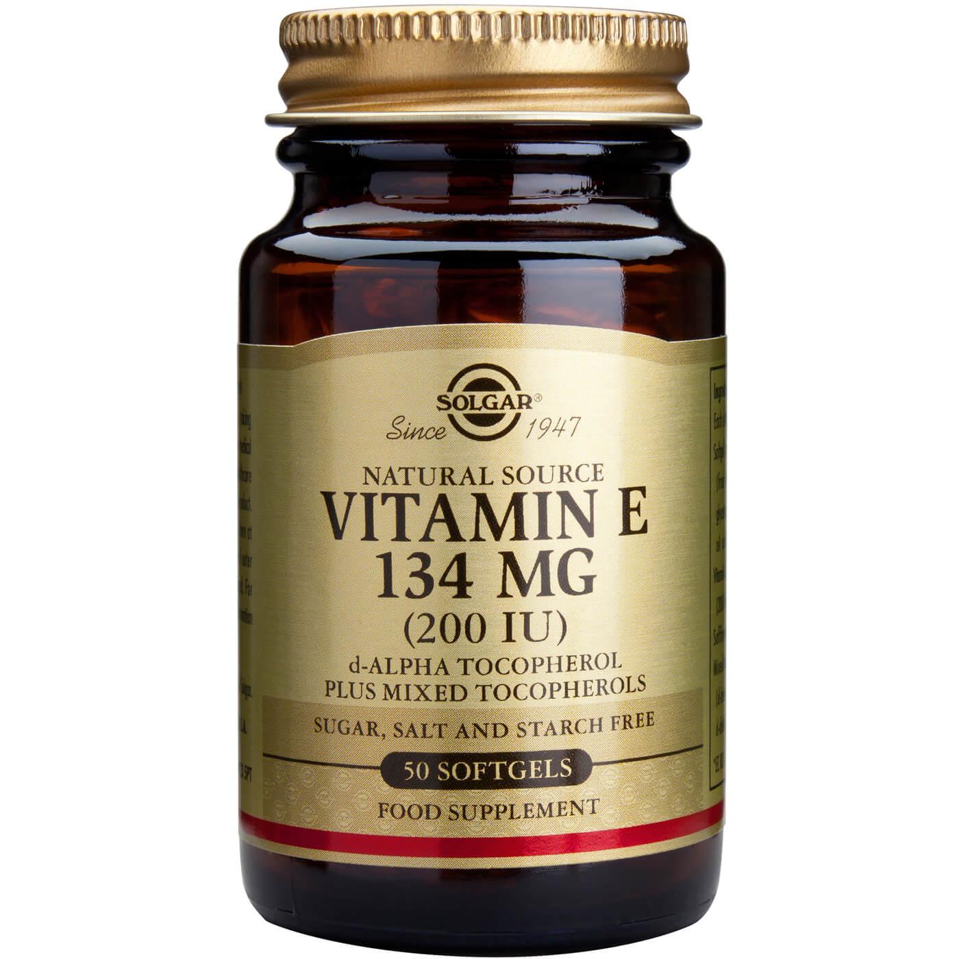 Solgar Vitamin E Συμπλήρωμα Διατροφής Φυσικής Πηγής Βιταμίνη Ε Πλούσια σε Αντιοξειδωτικά Natural softgels – 134mg 200iu 50s
