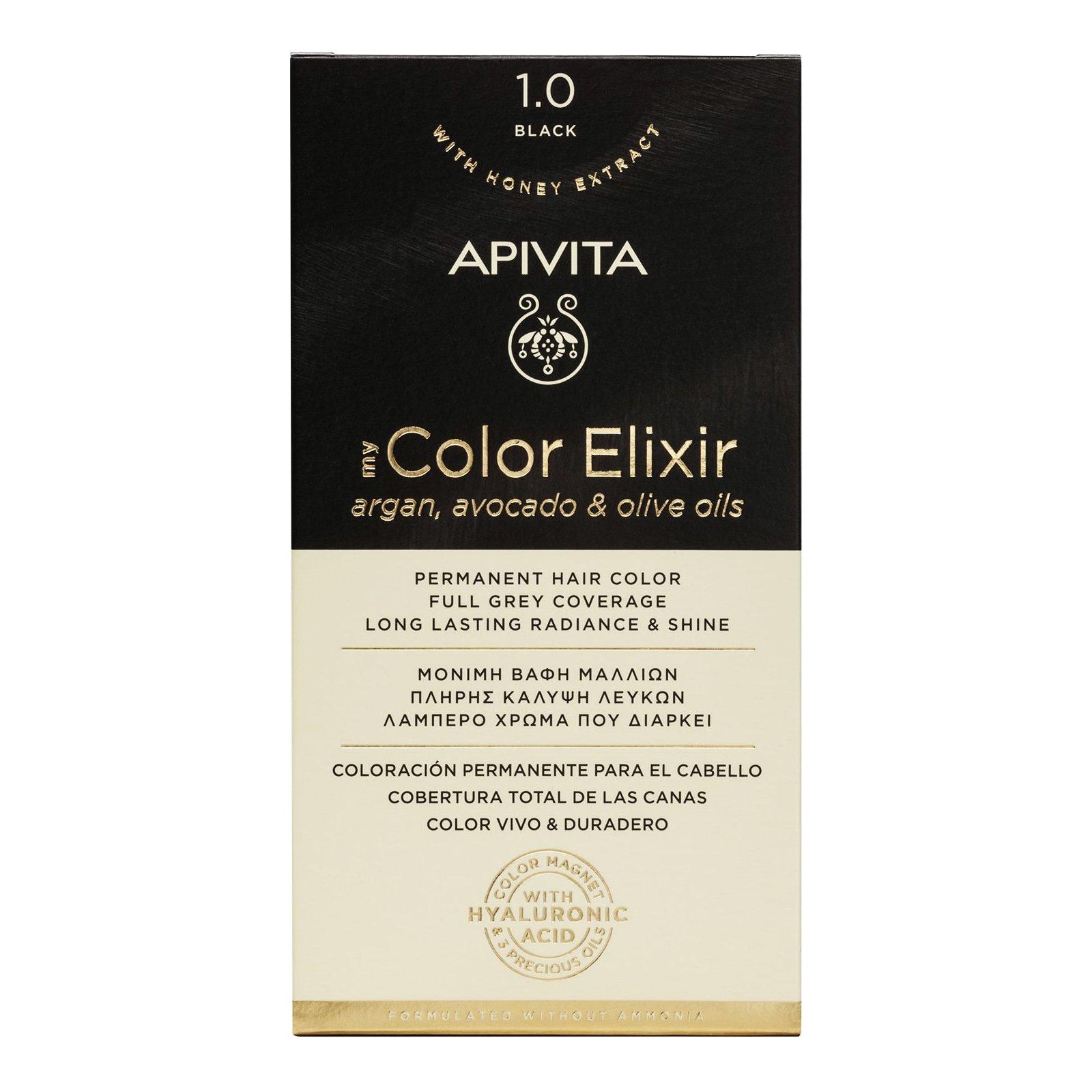 Apivita My Color Elixir Μόνιμη Βαφή Μαλλιών με Καινοτόμο Σύστημα Color Magnet που Σταθεροποιεί και Σφραγίζει το Χρώμα στην Τρίχα – N 1.0 ΦΥΣΙΚΟ ΜΑΥΡΟ