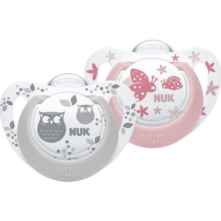 Nuk Genius Color Πιπίλες Σιλικόνης με Κρίκο 2τμχ – Γκρι Ροζ 0-6 Μηνών