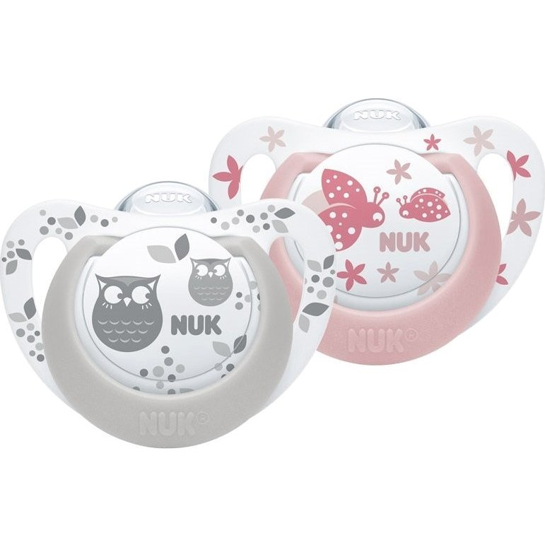 Nuk Genius Color Πιπίλες Σιλικόνης με Κρίκο 2τμχ – Γκρι Ροζ 6-18 Μηνών