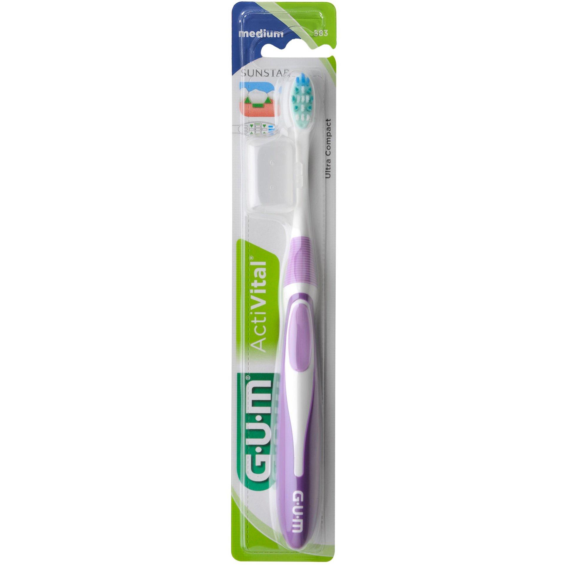 Gum ActiVital Compact Medium (583) Οδοντόβουρτσα Μεσαίας Σκληρότητας με Θήκη Προστασίας 1 Τεμάχιο – μωβ