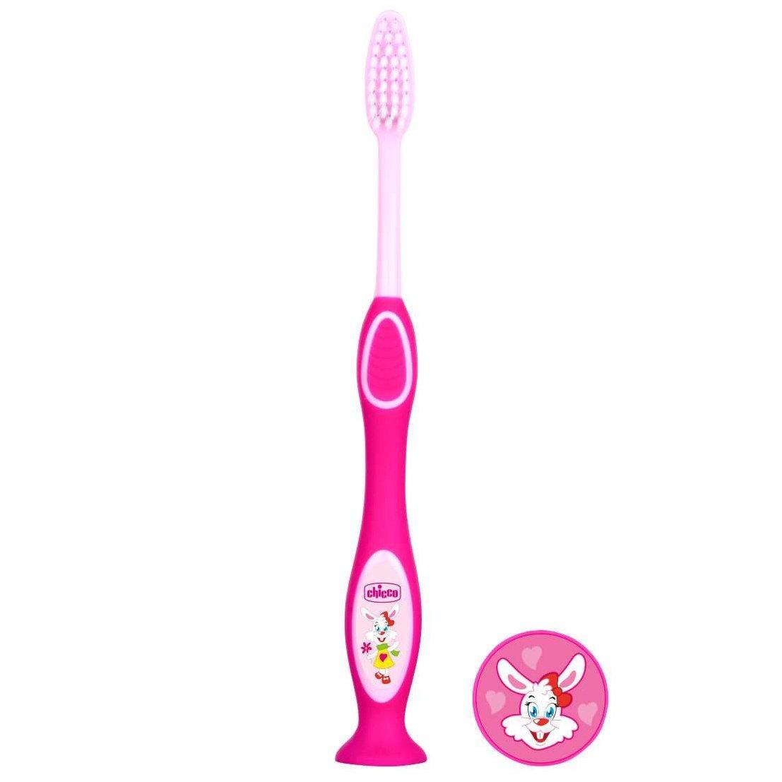 Chicco Milk Teeth Toothbrush 3-6 Years Παιδική Οδοντόβουρτσα Ιδανική για τα Πρώτα Νεογιλά Δόντια 1 Τεμάχιο – ροζ