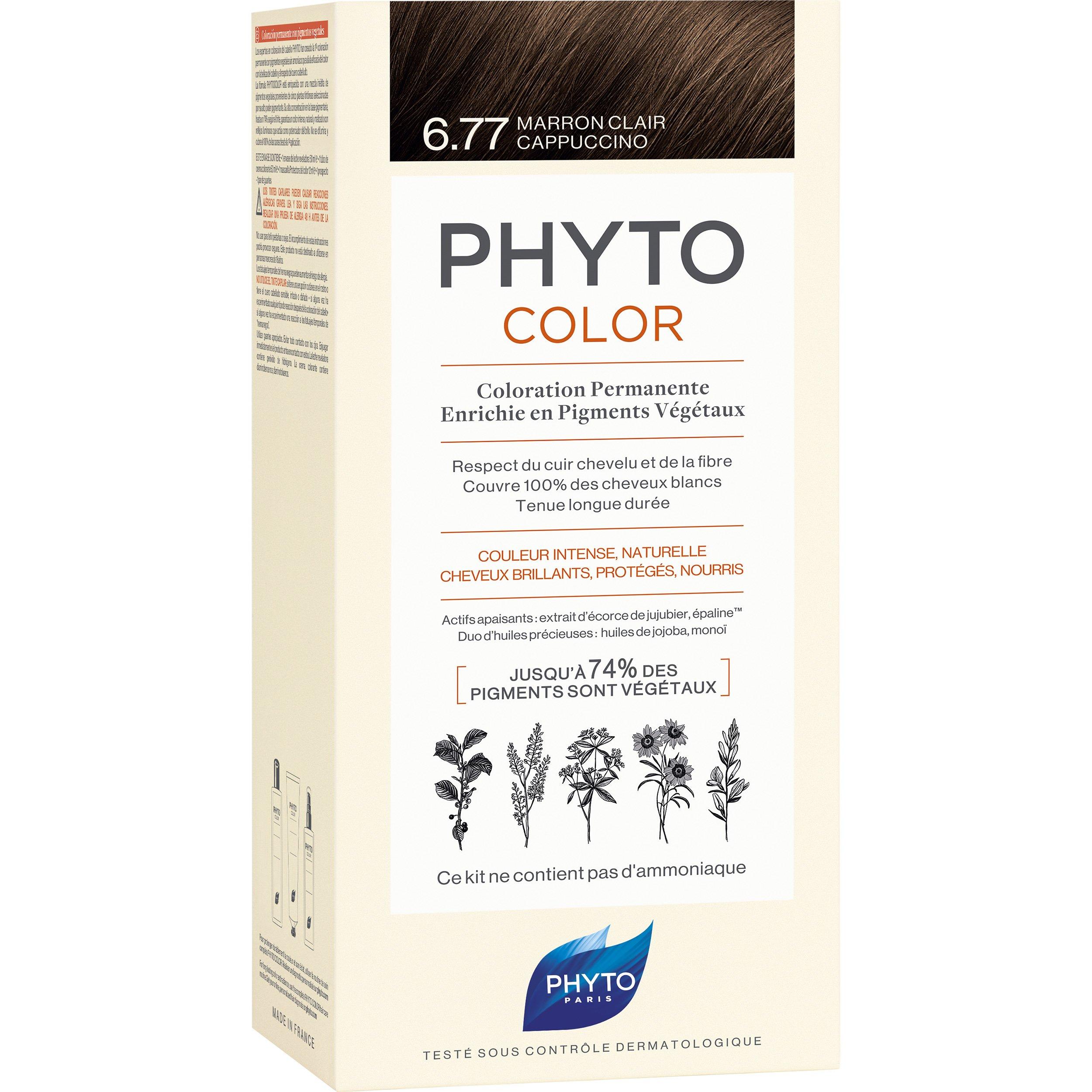 Phyto PhytoColor Coloration Permanente η No1 Μόνιμη Βαφή Μαλλιών Χωρίς Χρωστικές Ουσίες & Αμμωνία – 6.77 Μαρόν Ανοιχτό Καπουτσίνο