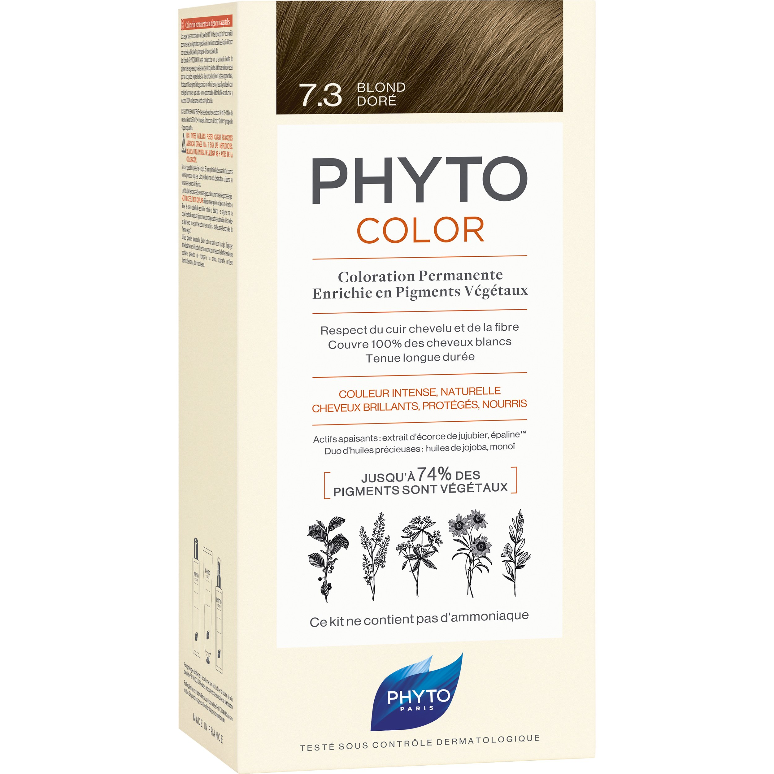 Phyto PhytoColor Coloration Permanente η No1 Μόνιμη Βαφή Μαλλιών Χωρίς Χρωστικές Ουσίες & Αμμωνία – 7.3 Ξανθό Χρυσό