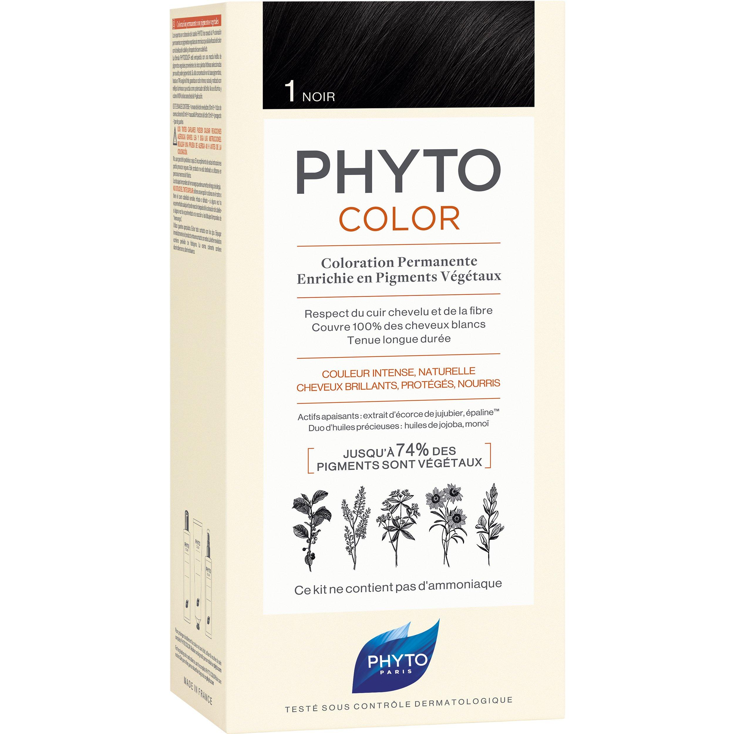 Phyto PhytoColor Coloration Permanente η No1 Μόνιμη Βαφή Μαλλιών Χωρίς Χρωστικές Ουσίες & Αμμωνία – 1 Μαύρο