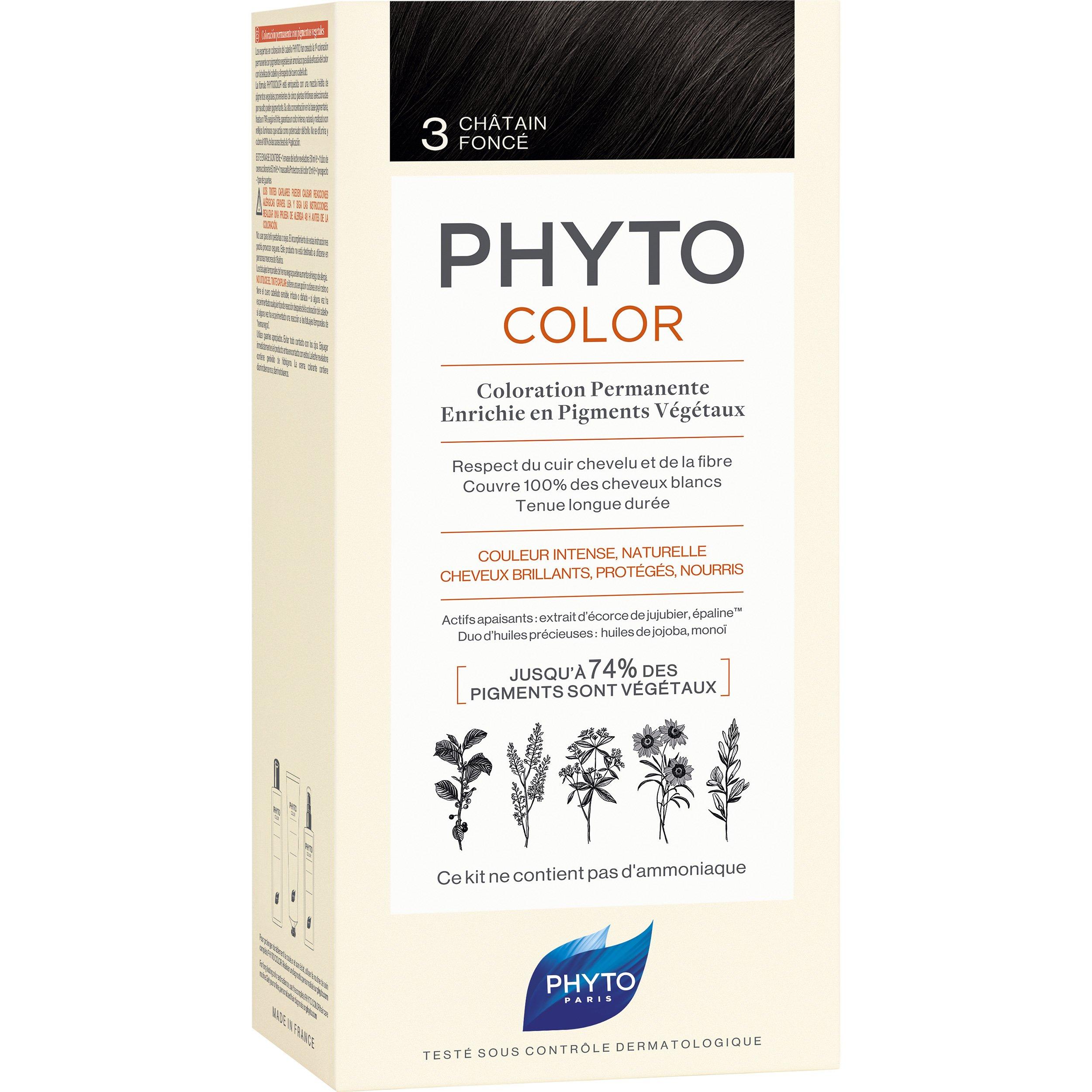 Phyto PhytoColor Coloration Permanente η No1 Μόνιμη Βαφή Μαλλιών Χωρίς Χρωστικές Ουσίες & Αμμωνία – 3 Καστανό Σκούρο