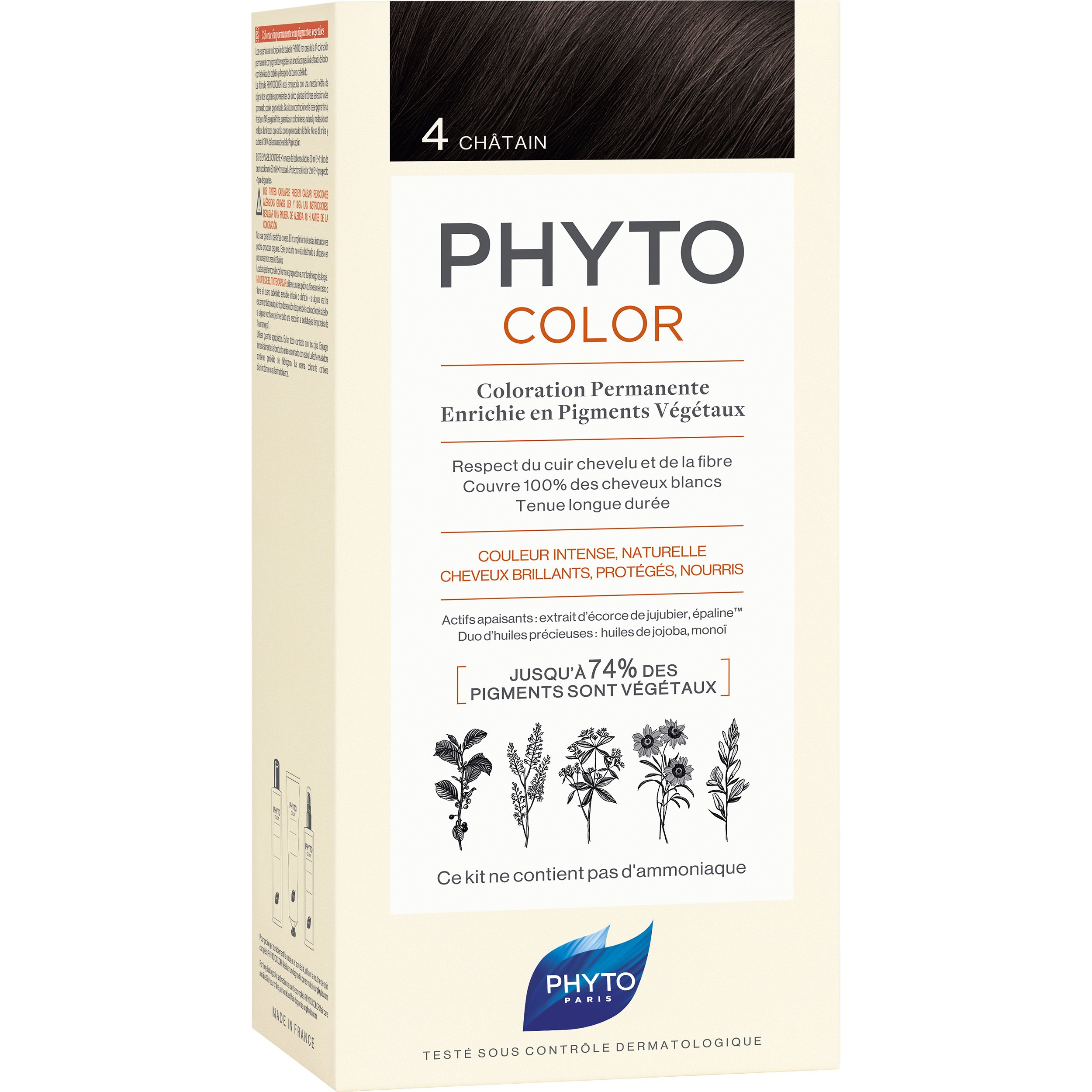 Phyto PhytoColor Coloration Permanente η No1 Μόνιμη Βαφή Μαλλιών Χωρίς Χρωστικές Ουσίες & Αμμωνία – 4 Καστανό