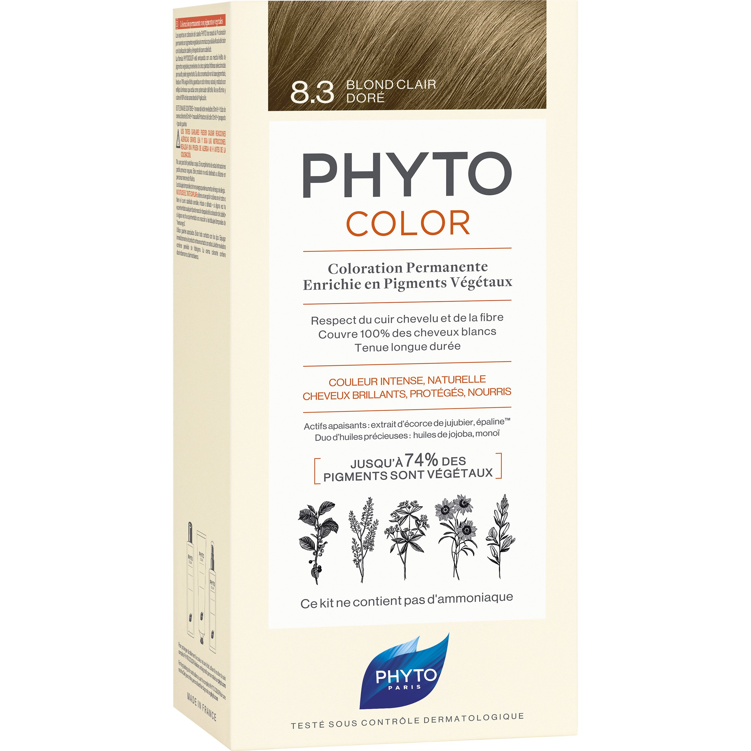 Phyto PhytoColor Coloration Permanente η No1 Μόνιμη Βαφή Μαλλιών Χωρίς Χρωστικές Ουσίες & Αμμωνία – 8.3 Ανοιχτό Ξανθό Χρυσό