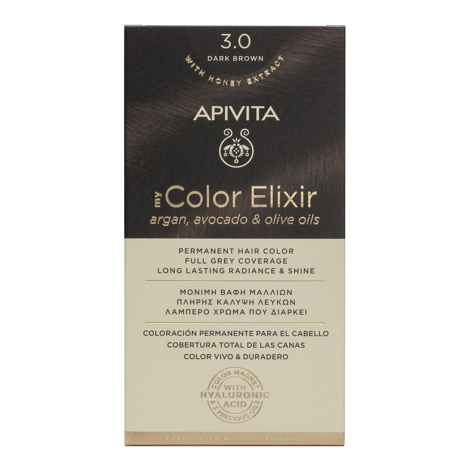 Apivita My Color Elixir Μόνιμη Βαφή Μαλλιών με Καινοτόμο Σύστημα Color Magnet που Σταθεροποιεί και Σφραγίζει το Χρώμα στην Τρίχα – N 3.0 ΚΑΣΤΑΝΟ ΣΚΟΥΡΟ