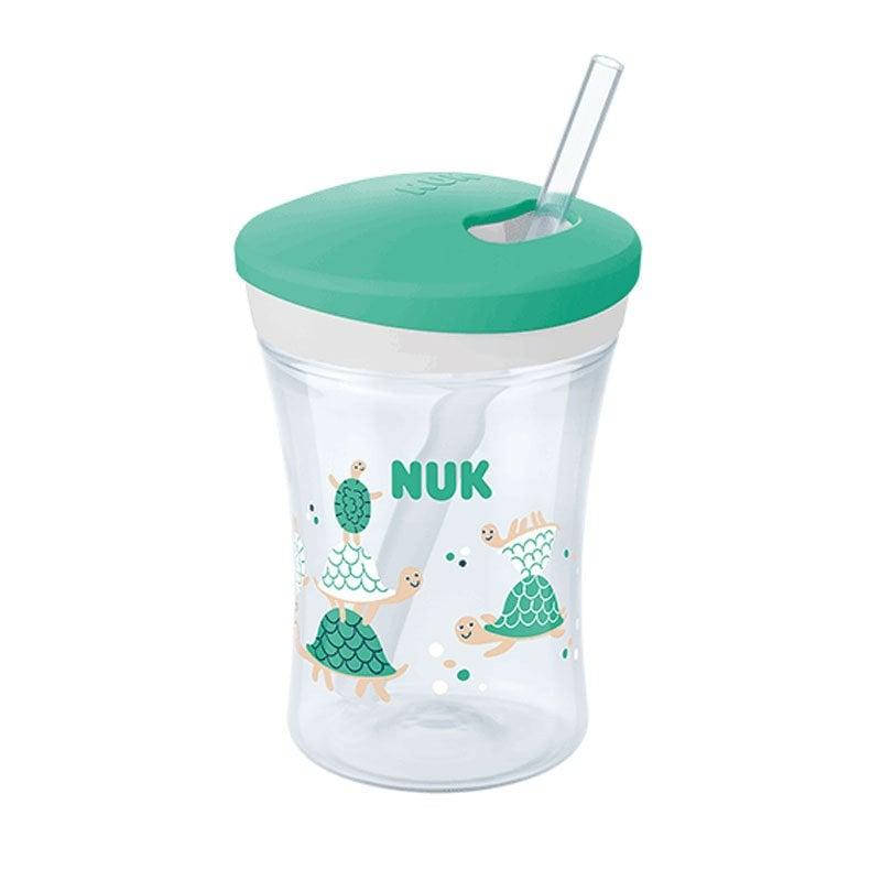 Nuk Action Cup Ποτηράκι με Καλαμάκι και Βυδωτό Καπάκι 12+m, 230ml – πράσινο