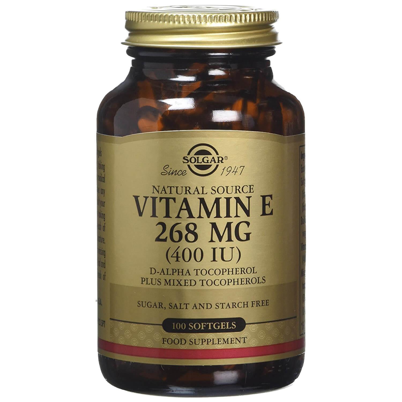 Solgar Vitamin E Συμπλήρωμα Διατροφής Φυσικής Πηγής Βιταμίνη Ε Πλούσια σε Αντιοξειδωτικά Natural softgels – 268mg 400iu 100s