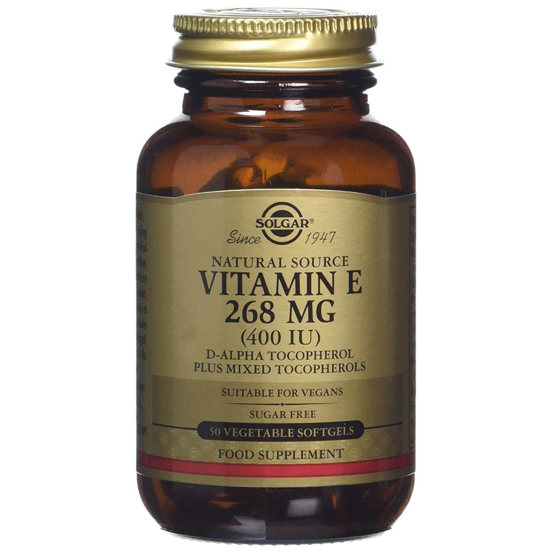 Solgar Vitamin E Συμπλήρωμα Διατροφής Φυσικής Πηγής Βιταμίνη Ε Πλούσια σε Αντιοξειδωτικά Natural softgels – 268mg 400iu 50s