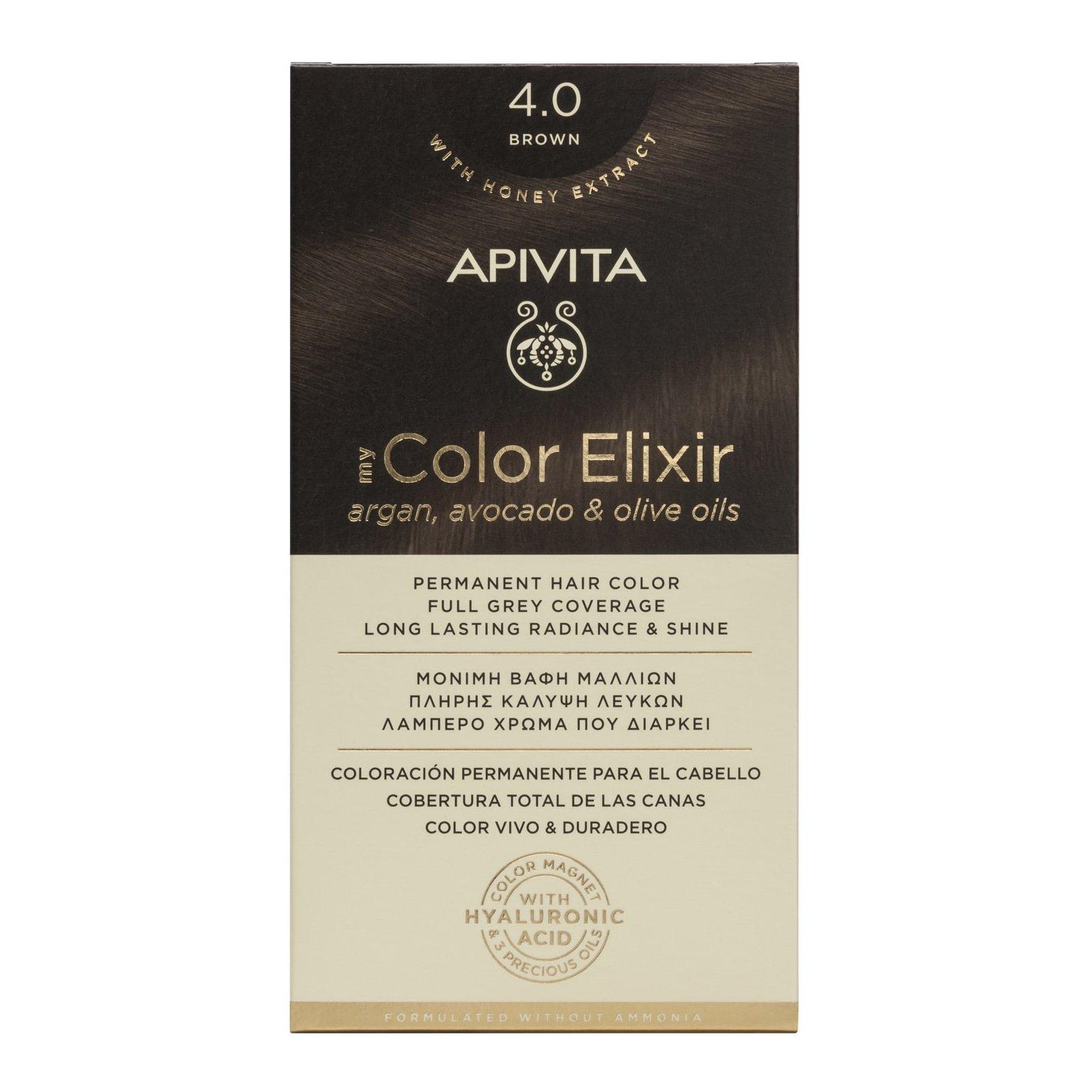 Apivita My Color Elixir Μόνιμη Βαφή Μαλλιών με Καινοτόμο Σύστημα Color Magnet που Σταθεροποιεί και Σφραγίζει το Χρώμα στην Τρίχα – N 4.0 ΦΥΣΙΚΟ ΚΑΣΤΑΝΟ