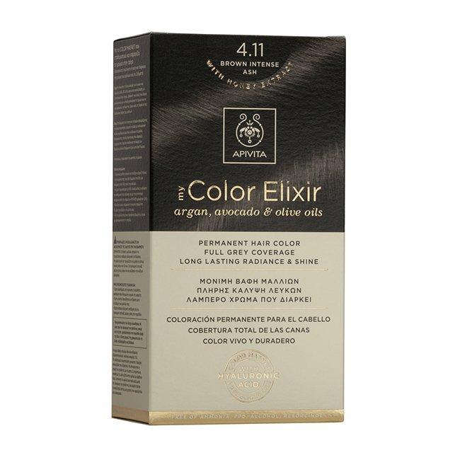 Apivita My Color Elixir Μόνιμη Βαφή Μαλλιών με Καινοτόμο Σύστημα Color Magnet που Σταθεροποιεί και Σφραγίζει το Χρώμα στην Τρίχα – N 4.11 ΚΑΣΤΑΝΟ ΕΝΤΟΝΟ