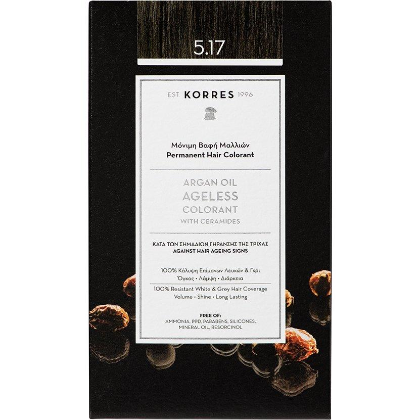 Korres Argan Oil Ageless Colorant with Ceramides Μόνιμη Βαφή Μαλλιών 50ml – 5.17 Καστανό Ανοιχτό Μπέζ