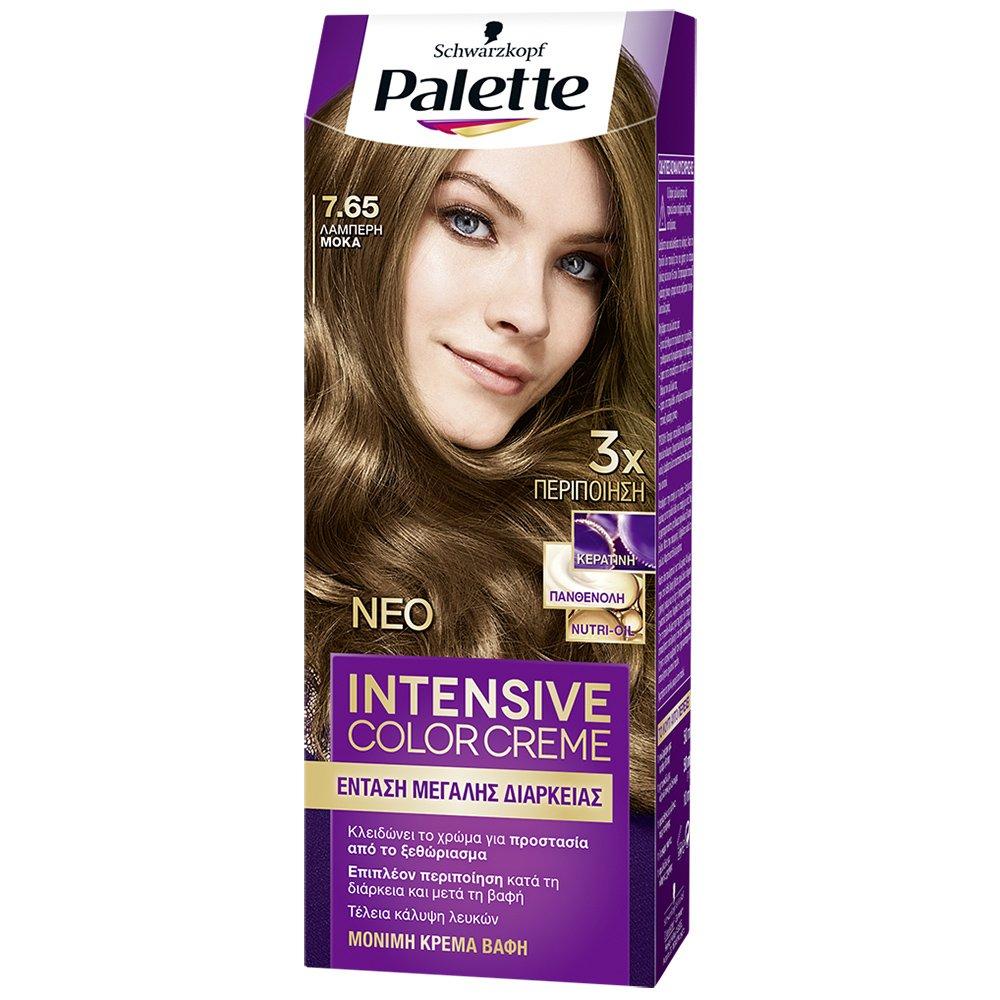 Schwarzkopf Palette Intensive Color Creme Επαγγελματική Μόνιμη Κρέμα Βαφή Μαλλιών, Απόλυτη Κάλυψη & Αποτέλεσμα Διάρκειας – 7.65 Λαμπερή Μόκα