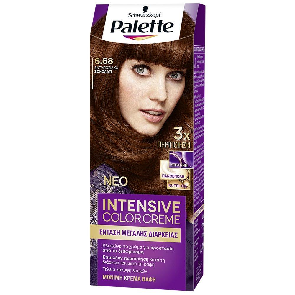 Schwarzkopf Palette Intensive Color Creme Επαγγελματική Μόνιμη Κρέμα Βαφή Μαλλιών, Απόλυτη Κάλυψη & Αποτέλεσμα Διάρκειας – 6.68 Εντυπωσιακό Σοκολατί