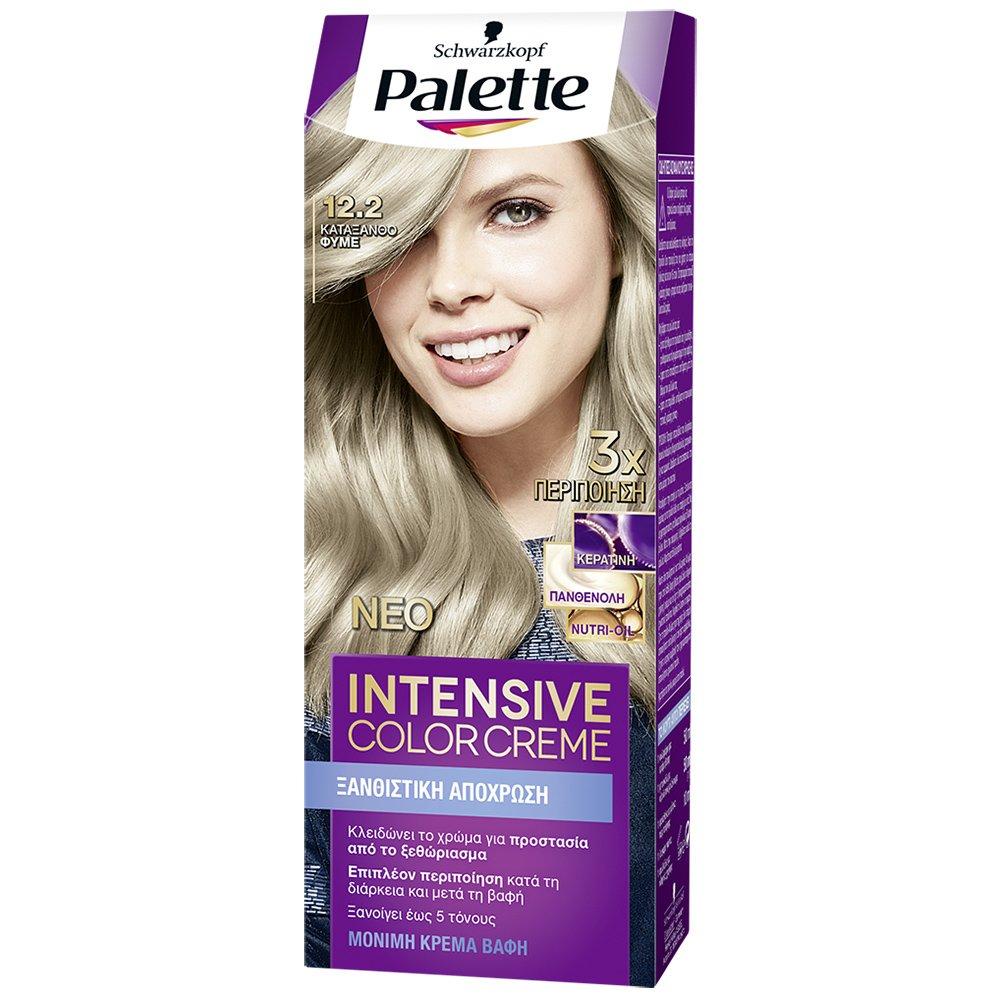 Schwarzkopf Palette Intensive Color Creme Επαγγελματική Μόνιμη Κρέμα Βαφή Μαλλιών, Απόλυτη Κάλυψη & Αποτέλεσμα Διάρκειας – 12.2 Κατάξανθο Φυμέ