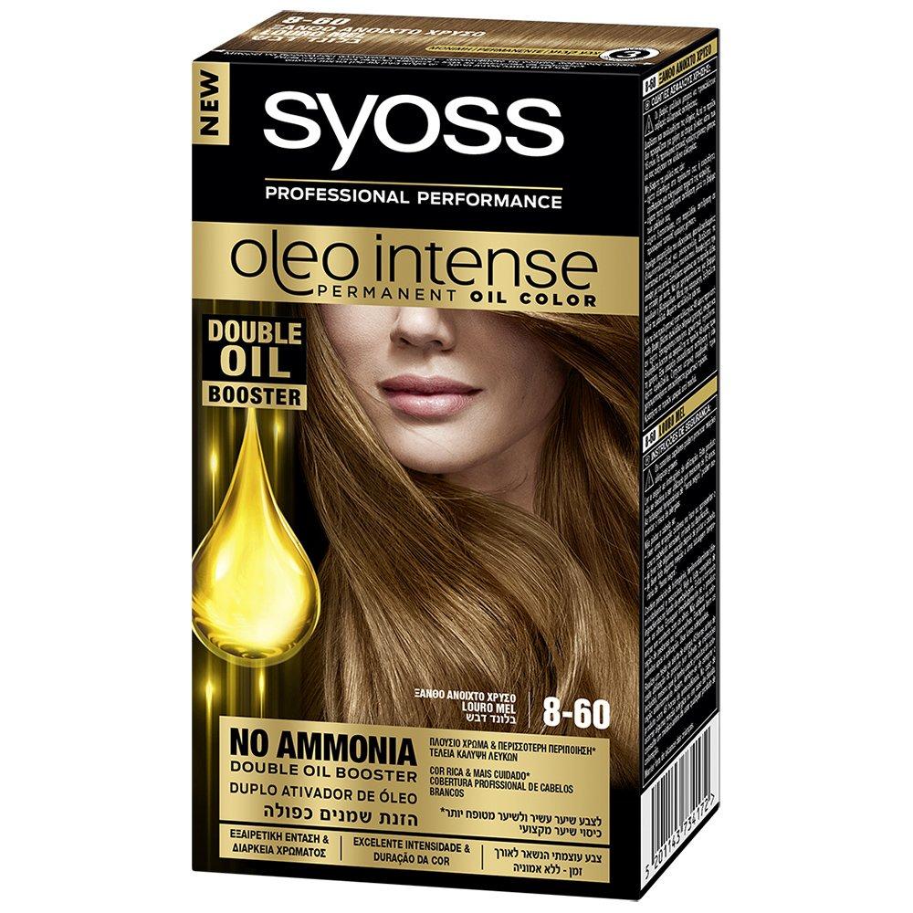 Syoss Oleo Επαγγελματική Μόνιμη Κρέμα Βαφή – 8-60 Ξανθό Ανοιχτό Χρυσό