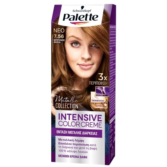Schwarzkopf Palette Intensive Color Creme Επαγγελματική Μόνιμη Κρέμα Βαφή Μαλλιών, Απόλυτη Κάλυψη & Αποτέλεσμα Διάρκειας – 7.56 Μπρονζέ Μόκα
