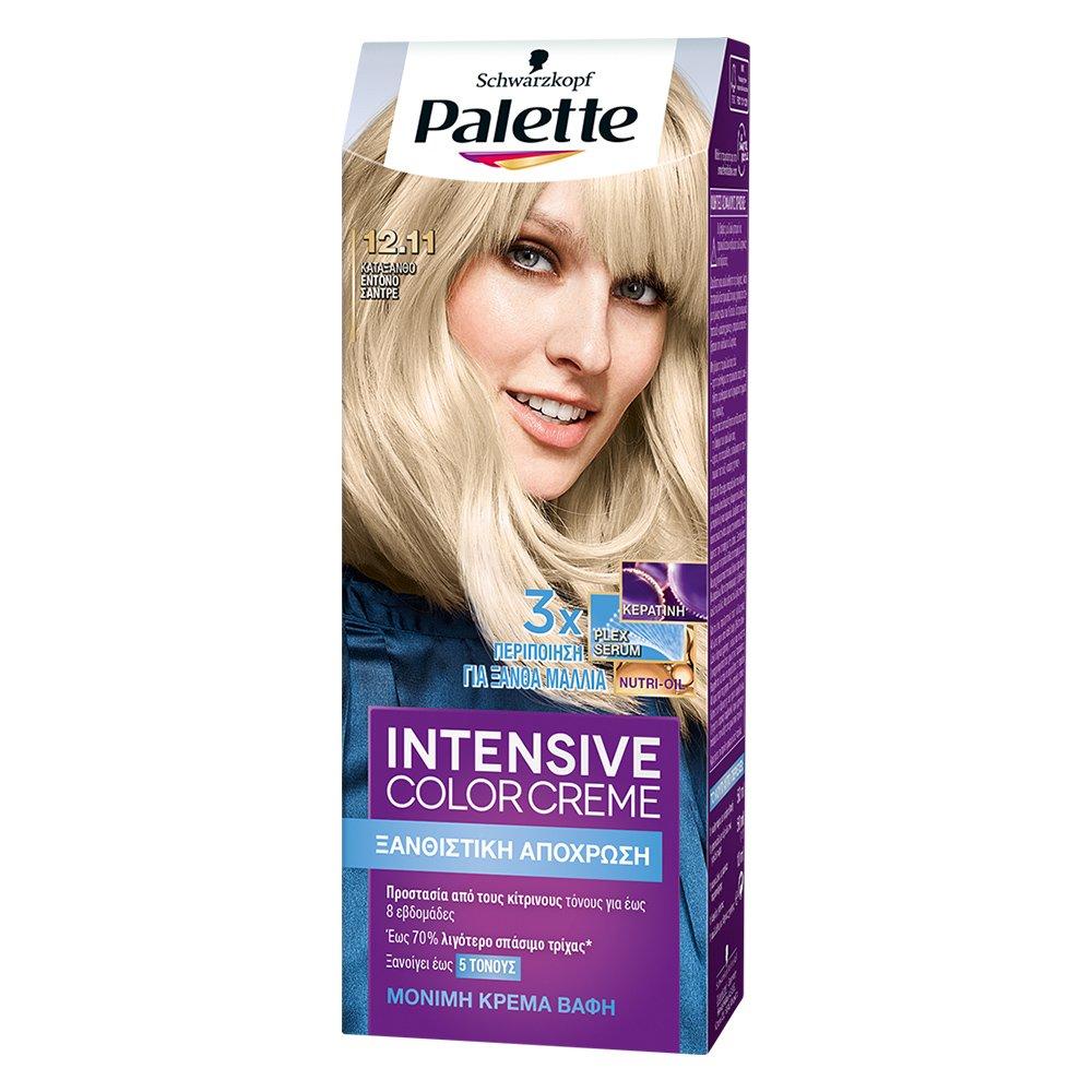 Schwarzkopf Palette Intensive Color Creme Επαγγελματική Μόνιμη Κρέμα Βαφή Μαλλιών, Απόλυτη Κάλυψη & Αποτέλεσμα Διάρκειας – 12.11 Κατάξανθο Έντονο Σαντρέ