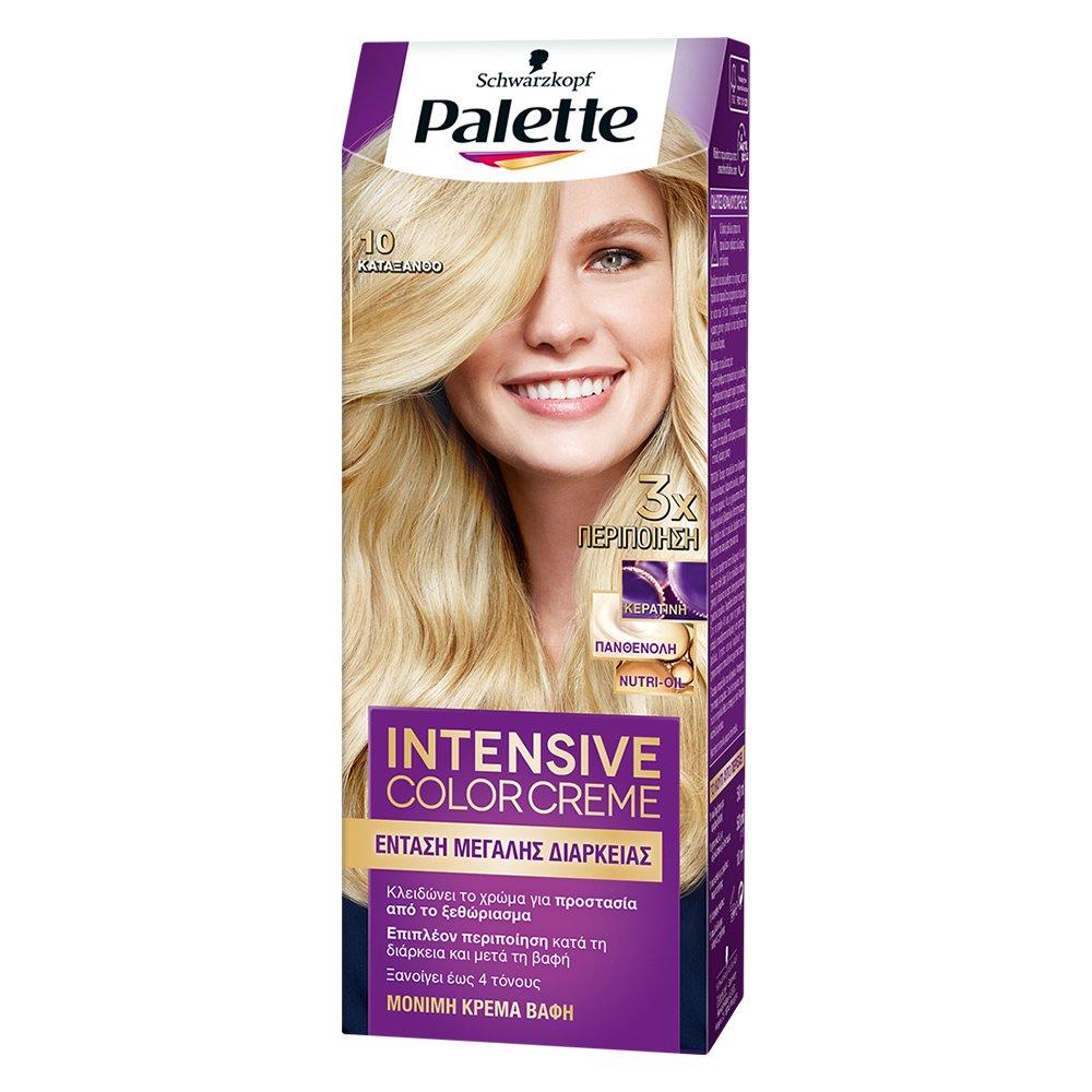 Schwarzkopf Palette Intensive Color Creme Επαγγελματική Μόνιμη Κρέμα Βαφή Μαλλιών, Απόλυτη Κάλυψη & Αποτέλεσμα Διάρκειας – 10.0 Κατάξανθο
