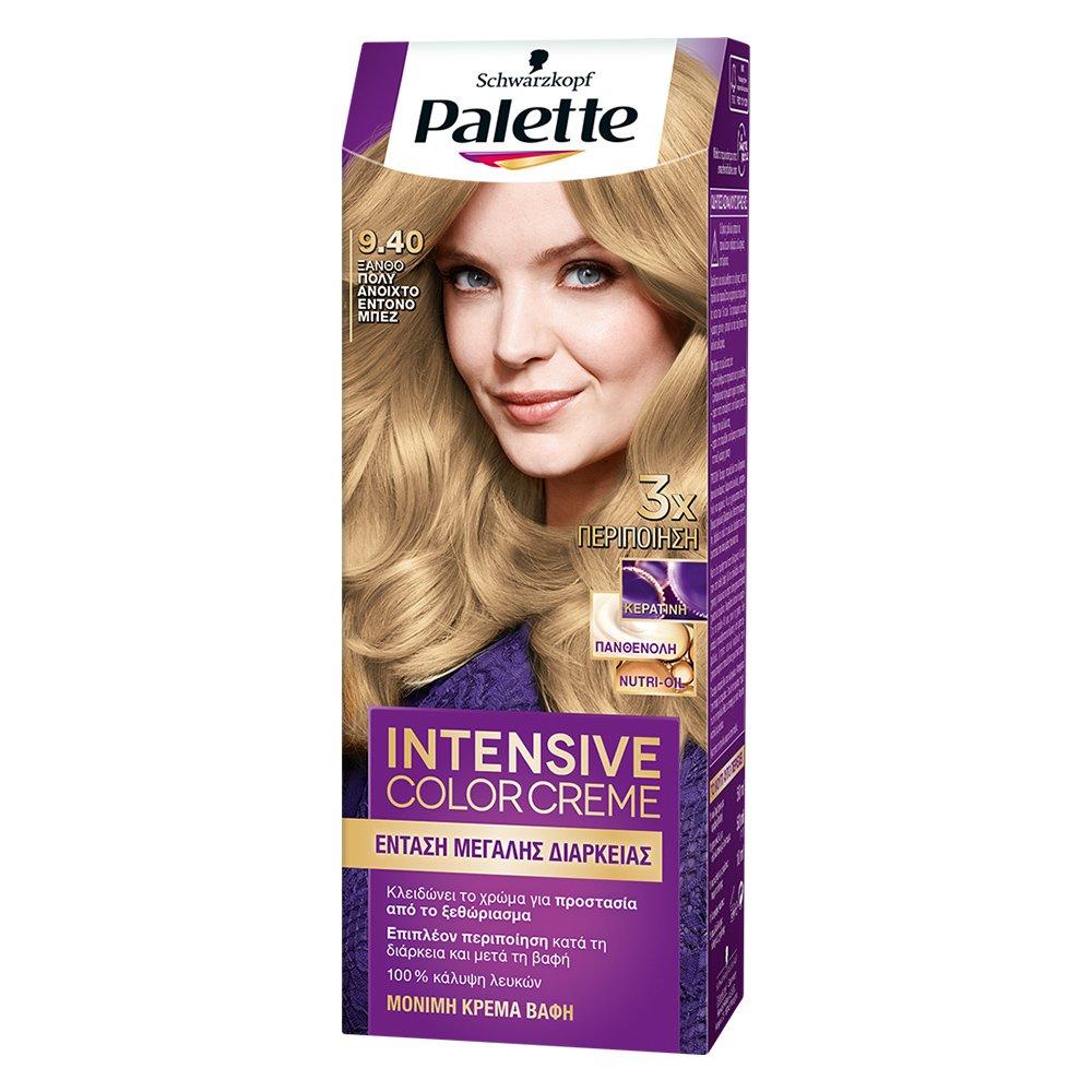 Schwarzkopf Palette Intensive Color Creme Επαγγελματική Μόνιμη Κρέμα Βαφή Μαλλιών, Απόλυτη Κάλυψη & Αποτέλεσμα Διάρκειας – 9.40 Ξανθό Πολύ Ανοιχτό Έντονο Μπεζ