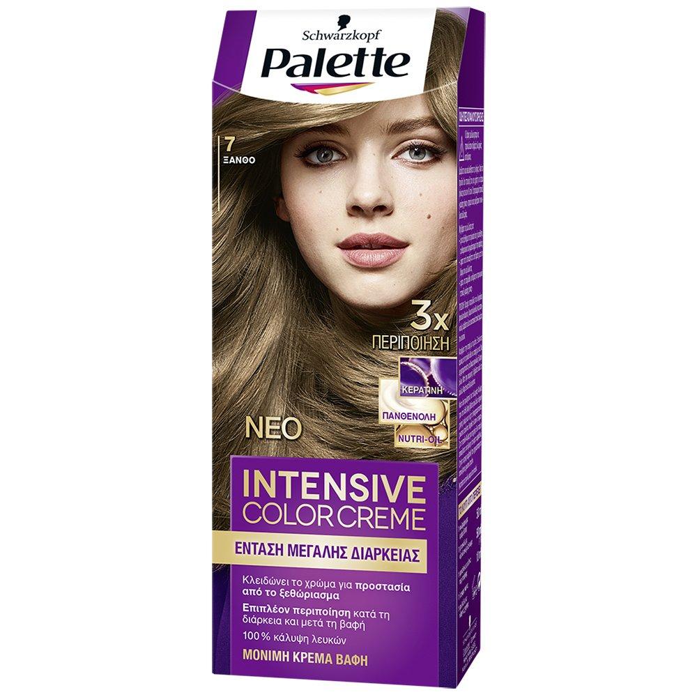 Schwarzkopf Palette Intensive Color Creme Επαγγελματική Μόνιμη Κρέμα Βαφή Μαλλιών, Απόλυτη Κάλυψη & Αποτέλεσμα Διάρκειας – 7 Ξανθό